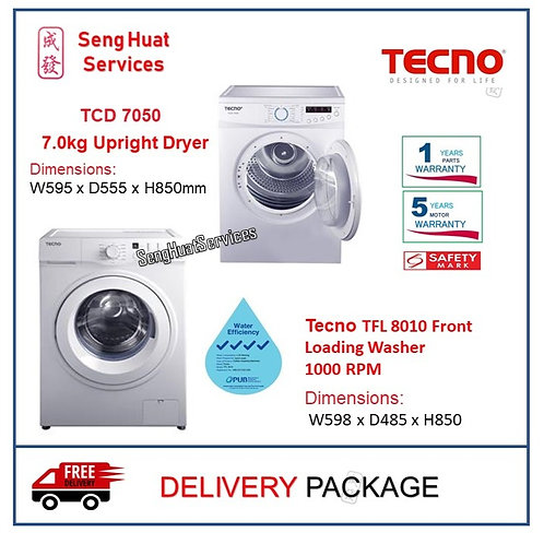 Tecno 8KG Front Load Washer Bundle With 7KG Dryer (FREE STACKING KIT) DELIVERY