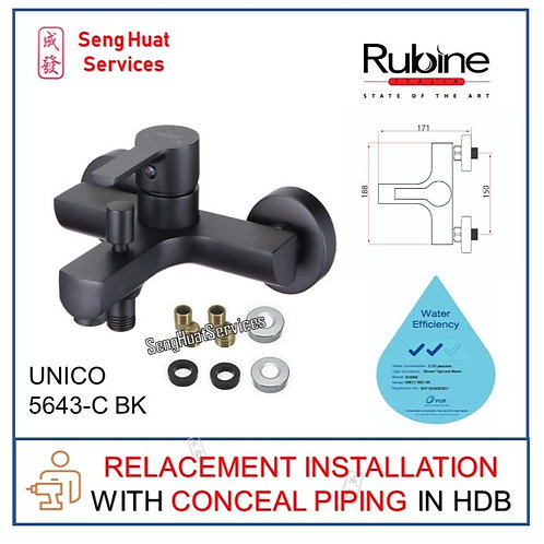 Rubine UNICO 5561 BLACK Mixer Tap IN CONCEAL PIPING REPLACE