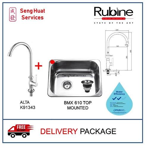 Rubine BMX 610 TOP MOUNTED Sink + RUBINE Sink Tap ON LEFT SIDE DELIVERY COD