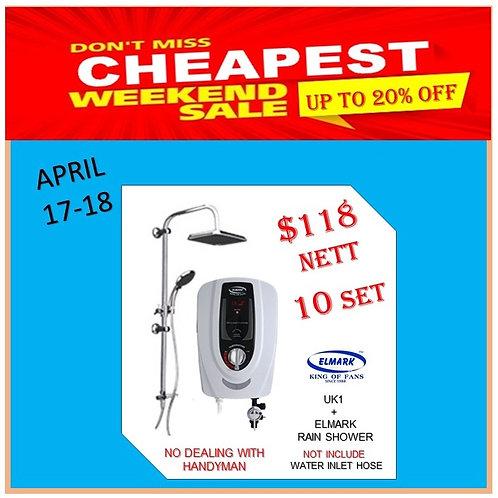Elmark Instant Heater + Rain Shower 17-18/4 Weekend Sale