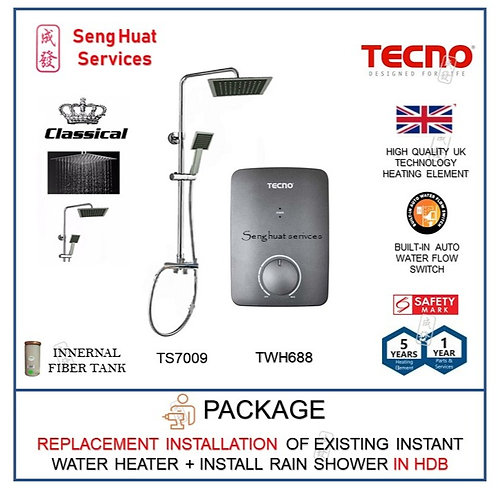 REPLACE INSTALL Tecno TWH688 Instant Water Heater + Rain Shower