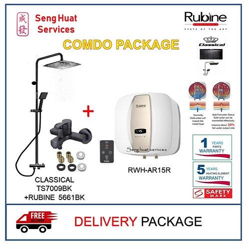Rubine AR15R 15 15L Storage Heater + `BLACK Rain Shower + Mixer TAP DELIVERY COD