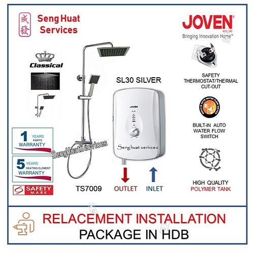 Joven SL30 SILVER Instant Heater + CLASSICAL Rain Shower REPLACE COD