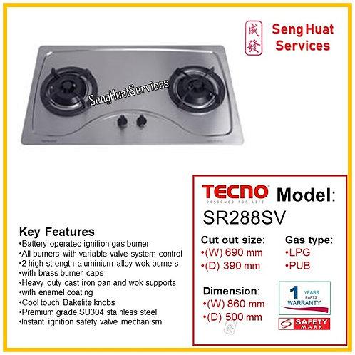 Tecno SR288SV 90Cm 2 Burner Stainless Hob With Safety Valve