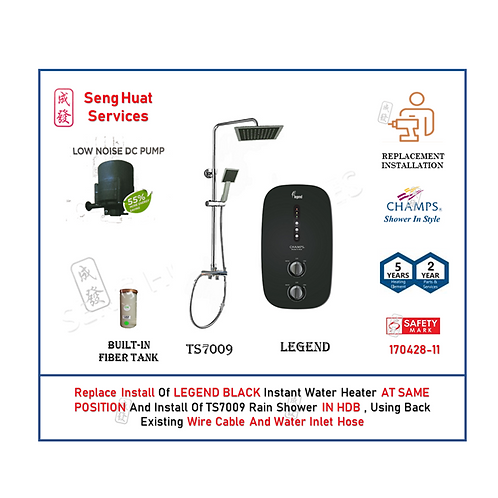 REPLACE INSTALL Champs Legend BLACK Instant Water Heater + Rain Shower COD
