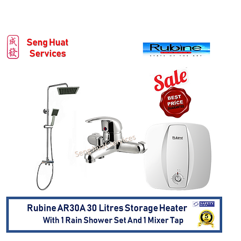 Rubine AR30A 30L Storag Heater Rain Shower Set With Mixer Tap FOC Delivery