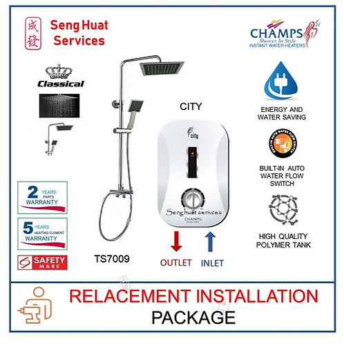 Champs CITY Instant Water Heater With Rain Shower REPLACE INSTALL COD