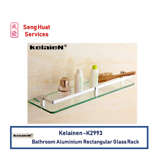 Kelaien K-2993 Bathroon Rectangular Aluminium Glass Rack With Install