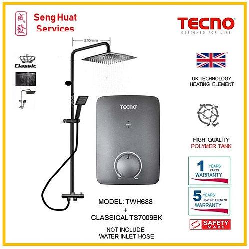 TECNO TWH688 Heater+CLASSICLA BLACK Rain Shower ( SERVICES OPTION TO SELECT)