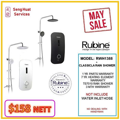 Rubine RWH-1388 Heater + CLASSICLA TS7010 Rain Shower MAY SALE