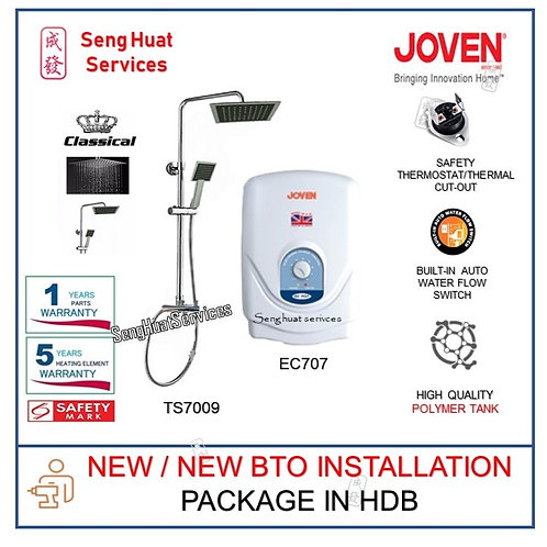 Joven EC707 Instant Heater + Classical Rain Shower NEW BTO INSTALL