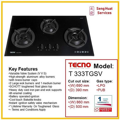 Tecno T333TGSV (V.V.S) 3 Burner 90cm Tempered Glass Hob