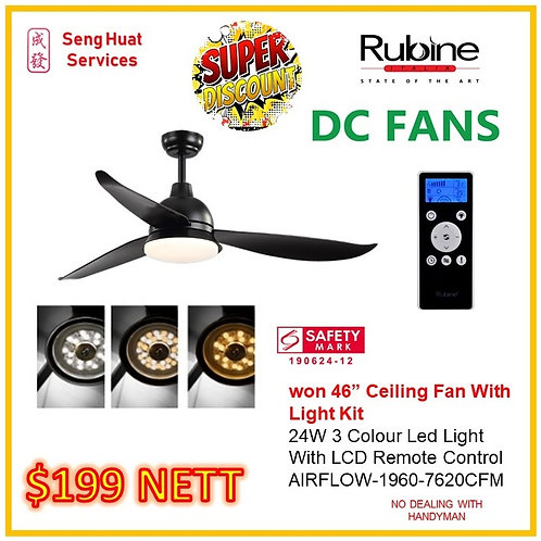 """Rubine 46"""" Won Series DC Ceiling Fan With Lights And Remote"""