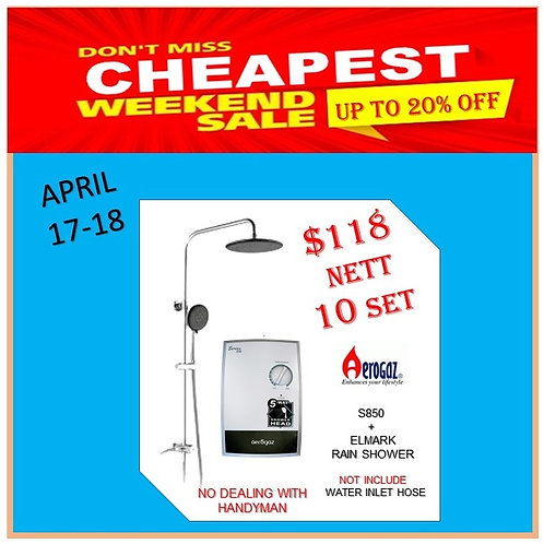 Aerogaz Instant Heater + Rain Shower 17-18/4 Weekend Sale