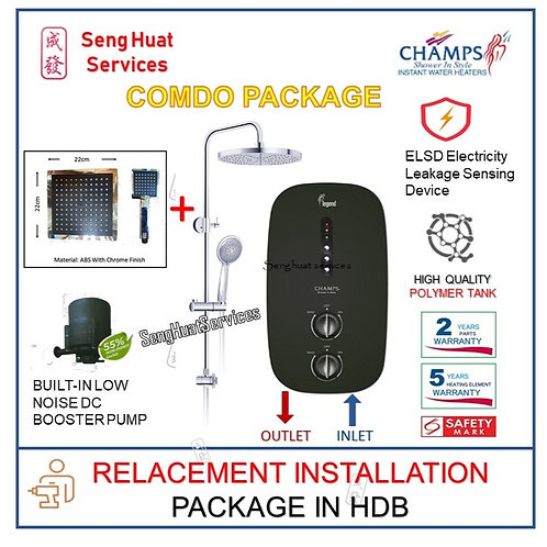 Champs Legend BK Instant Heater + SQUARE Rain Shower REPLACE COD