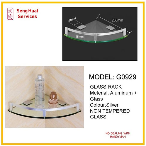 G-0929 Bathroom Aluminium Corner Glass Rack ( SERVICES OPTION TO SELECT )