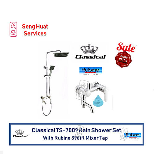 Classical TS 7009 Rain Shower Set With Rubine 3961R Mixer Tap