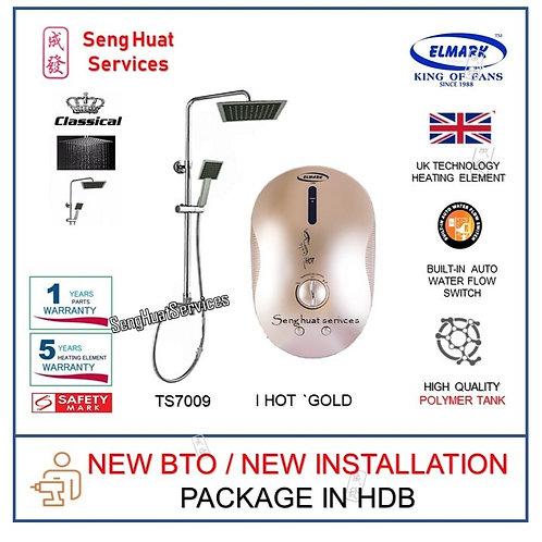 NEW BTO INSTALL i Hot GOLD Instant Heater +TS7009 Rain Shower COD