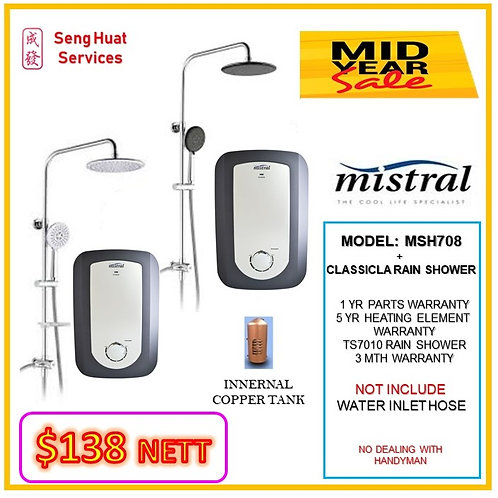 Mistral MSH708 INSTANT HEAT+ CLASSICAL Rain Shower MID YEAR SALE