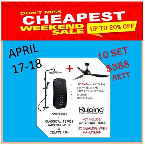 Rubine RWH3388B Instant Heater + Ceiling Fan 17-18/4 Weekend Sale