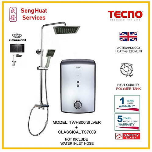 TECNO TWH800SV  Heater+CLASSICLA Rain Shower ( SERVICES OPTION TO SELECT)