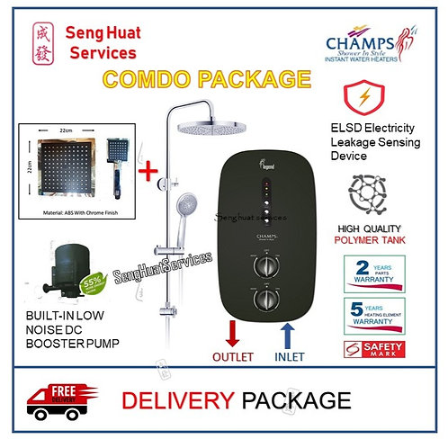 Champs LEGEND BLACK Instant Heater + SQUARE Rain Shower Set With  DELIVERY