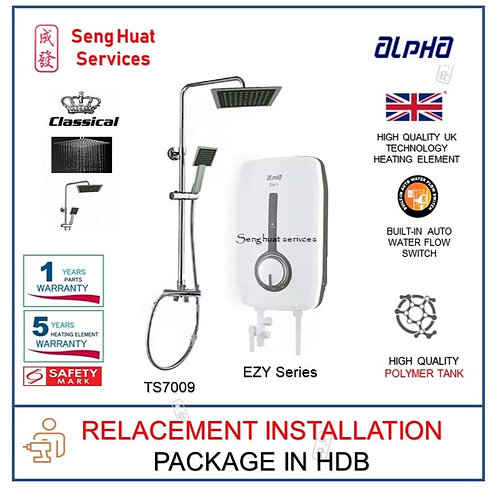 ALPHA EZY SERIES Instant Heater + CLASSICAL Rain Shower REPLACE COD