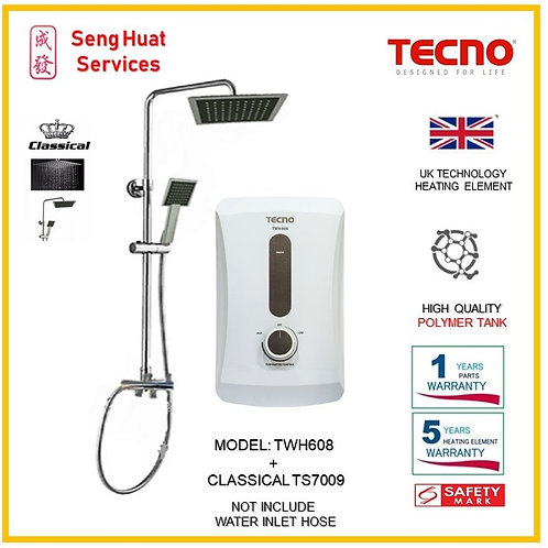 TECNO TWH608 Instant  Heater+CLASSICLA Rain Shower ( SERVICES OPTION TO SELECT)