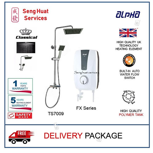 ALPHA FX SERIES Instant Heater + CLASSICAL Rain Shower DELIVERY