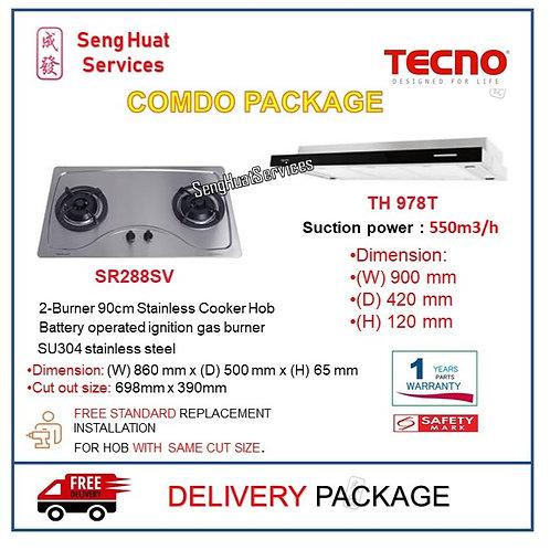 Tecno SR288SV 2 Burner Stainless Hob +TH 978T Slim Line Cooker Hood COD