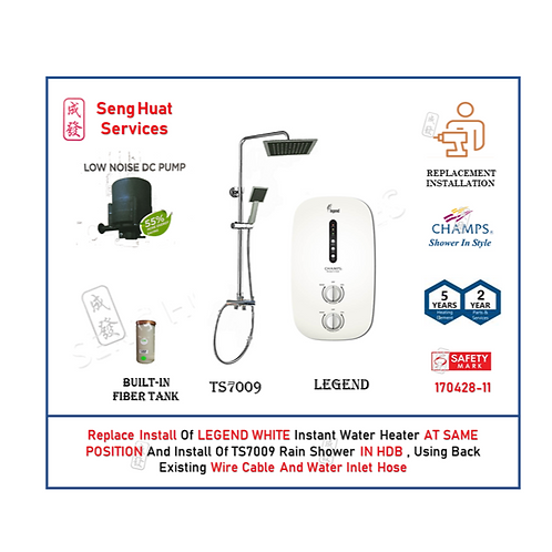 REPLACE INSTALL Champs Legend WHITE Instant Water Heater + Rain Shower