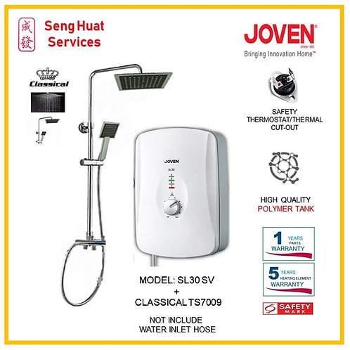 Joven SL30 SV Instant Heater + CLASSICAL Rain Shower (SERVICES OPTION TO SELECT)