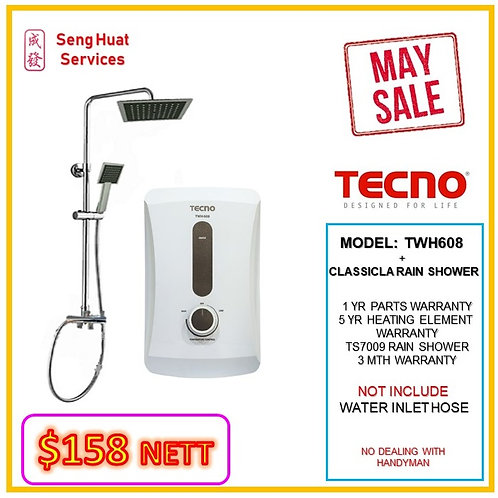 TECNO TWH608 Instant  Heater+CLASSICLA Rain Shower ( WALK-IN CASHAND CARRY )
