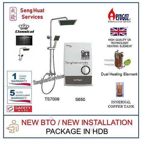 Aerogaz S650 Instant Water Heater With Rain Shower Set NEW BTO INSTALL COD