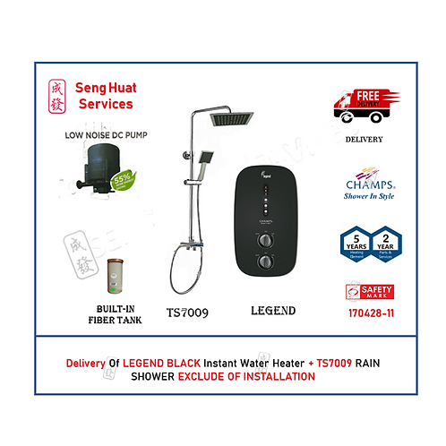 Champs Legend BLACK Instant Water Heater + Rain Shower Set With  Delivery COD