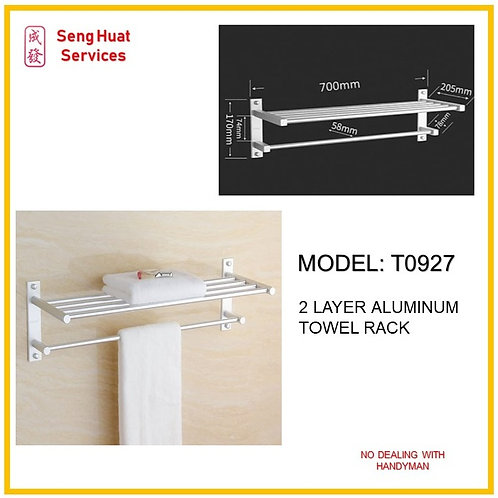 T-0927 Bathroon 70cm 2 Layer Towel Aluminium Rack ( SERVICES OPTION TO SELECT )