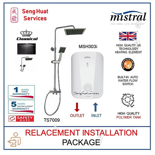 Mistral MSH303I Instant Shower Heater + CLASSICAL Rain Shower REPLACE INSTALL