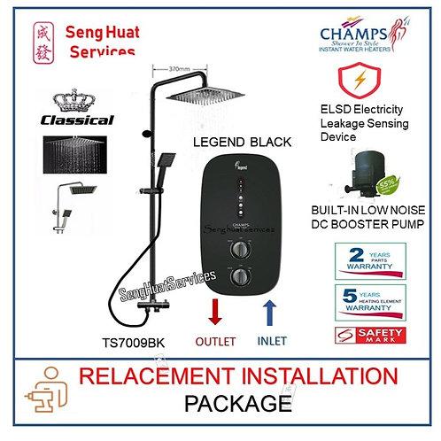 Champs Legend BK Instant Heater +CLASSICAL BLACK Rain Shower REPLACE COD