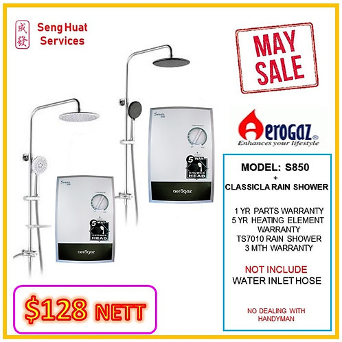 Aerogaz S850 Instant heater + TS7010 Rain Shower MAY SALE