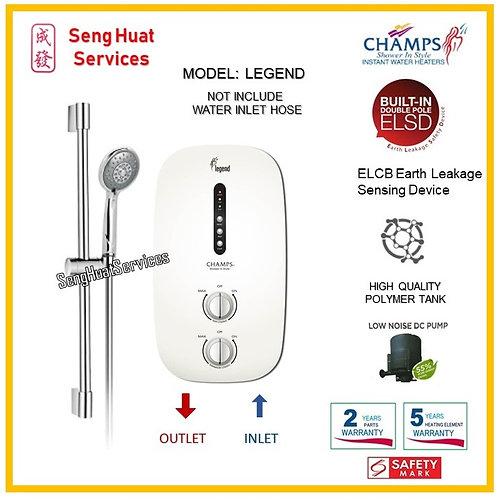 CHAMPS LEGEND WHITE Heater NO RAIN SHOWER( SERVICES OPTION TO SELECT )