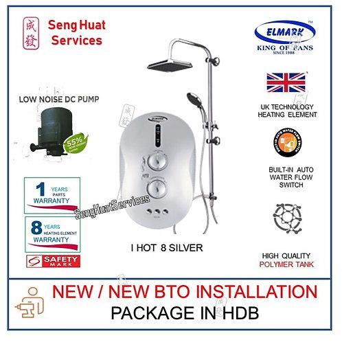 Elmark i Hot 8 SILVER instant heater With Rain Shower NEW BTO INSTALL COD