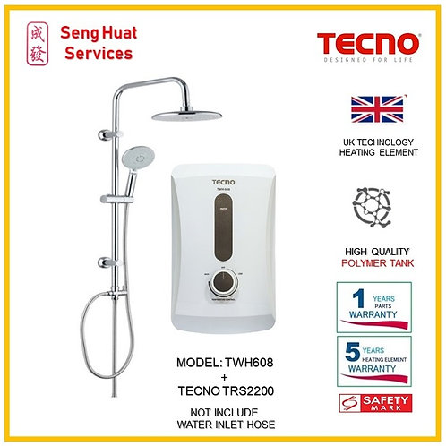 TECNO TWH608 Instant  Heater+TECNO Rain Shower ( SERVICES OPTION TO SELECT)