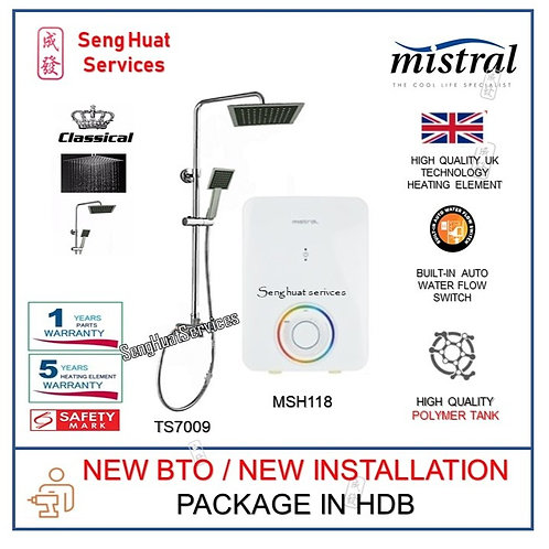 Mistral MSH118 Instant Heater + CLASSICAL Rain Shower NEW BTO INSTALL