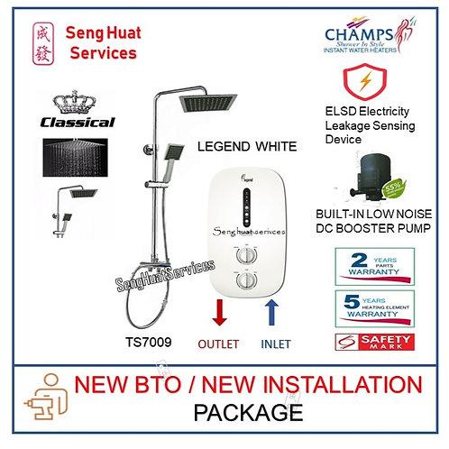 Champs LEGEND WHITE Instant Heater + CLASSICAL Rain shower set NEW BTO INSTALL