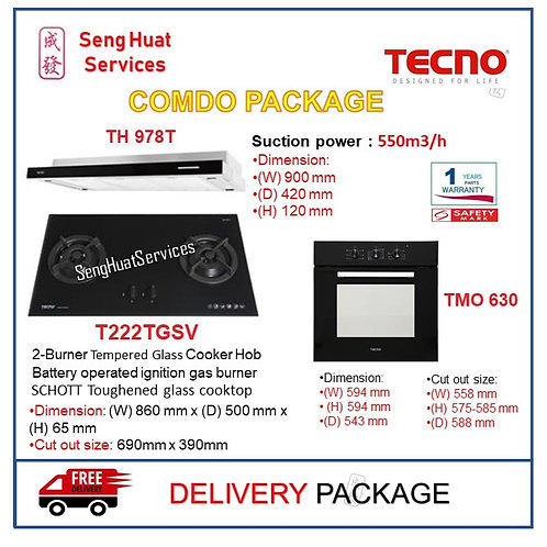 Tecno TH 978T + T222TGSV 2 Burner + TBO 630 OVEN PACKAGE COD