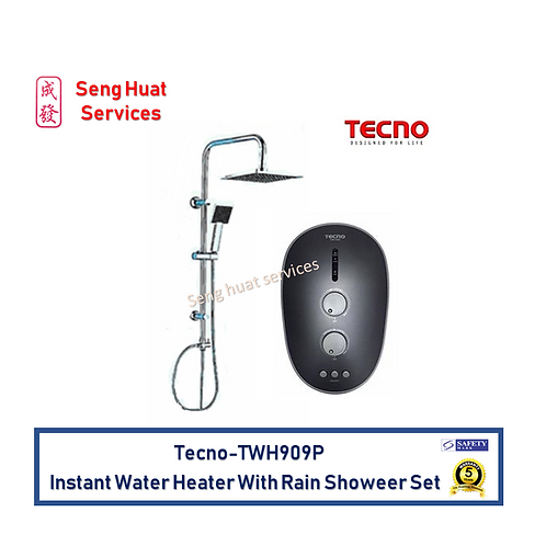 Tecno TWH909P instant water heater with DC booster pump and rain shower