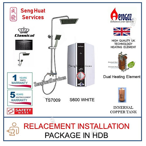 Aerogaz S600 White Instant Heater + CLASSICAL Rain Shower REPLACE COD