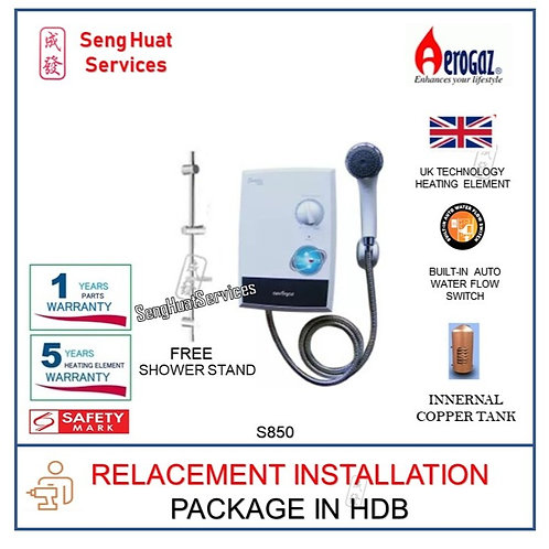 Aerogaz S850 Instant water heater With Shower Stand REPLACE INSTALL