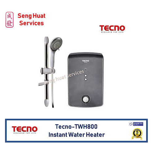 Tecno TWH800 Black Instant Water Heater Set