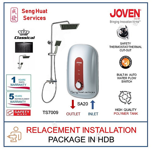 Joven SA20 Instant Heater + CLASSICAL Rain Shower REPLACE INSTALL COD
